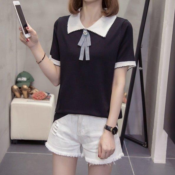 大碼衣著上衣針織衫短袖XL-4XL中大尺碼冰絲針織小衫R11.1051胖胖美依