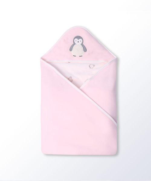 Hallmark Babies小企鵝典雅粉純棉加厚包被毯子HG3-E81-A1-AG-MR