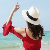 平檐草編沙灘帽子 英倫黑白色遮陽情侶禮帽