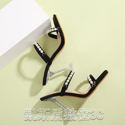 高跟涼鞋2021夏季時尚透明水晶跟珍珠高跟涼鞋女鞋貨號6-12【凱斯盾】