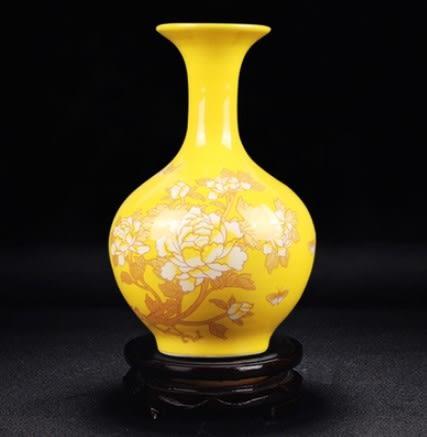 陶瓷器花瓶中式黃色顏色釉花瓶