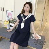 哺乳衣外出正韓學院風產后哺乳連身裙時尚短袖領帶喂奶衣