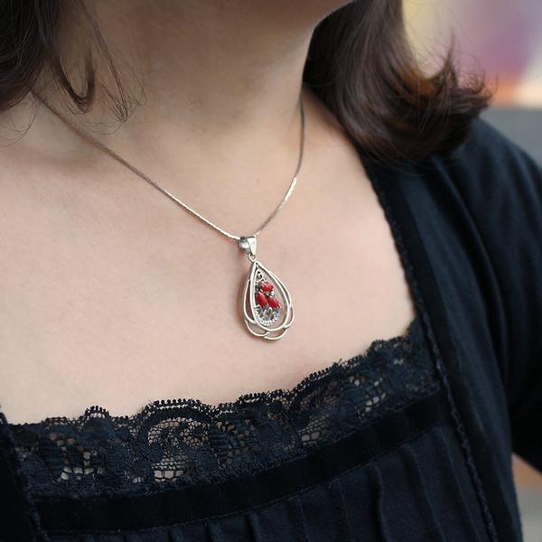 紅珊瑚項鍊-瑚光珊色-綻放花語 石頭記
