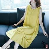 大尺碼洋裝寬鬆文藝范純色圓領無袖棉麻過膝連身裙 超值價