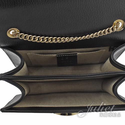茱麗葉精品【全新現貨】GUCCI 510304 小款 雙G金屬壓扣牛皮壓紋金鍊斜背包.黑