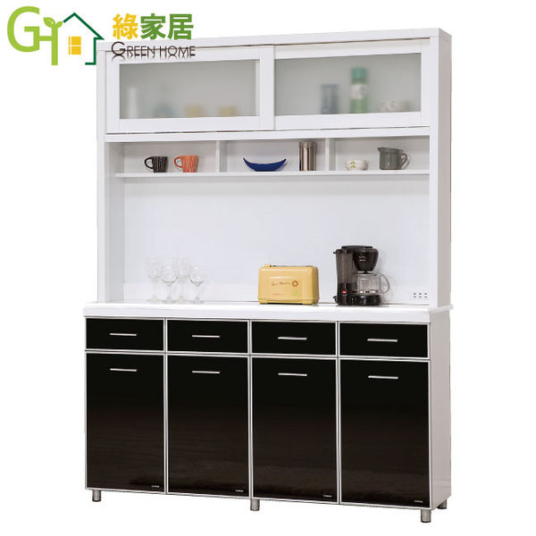 【綠家居】妮莉雅 時尚5尺雙色黑玻木面餐櫃/收納櫃組合(上+下座)