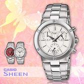 CASIO手錶專賣店 卡西歐 SHEEN SHN-5005D-7A 女錶 時尚三眼 防刮礦物玻璃 強化不繡鋼錶帶