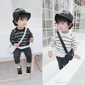 秋裝新款男童條紋毛衣寶寶薄款針織衫韓版兒童打底衫1234歲艾美時尚衣櫥