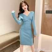 秋冬新款氣質性感長袖V領收腰顯瘦中長裙針織包臀打底洋裝 卡布奇諾