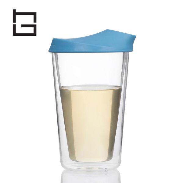 【HG】矽膠蓋雙層玻璃隨手杯(藍)/360ml (現貨+預購)