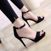 夏季黑色細跟露趾涼鞋韓版一字扣帶百搭高跟鞋性感女鞋子