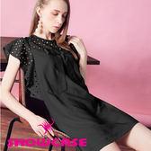 【SHOWCASE】清新甜美鏤空圓荷葉袖A字修身短版洋裝(黑)