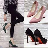 款韓版黑色百搭絨面高跟鞋貓跟細跟女鞋職業鞋