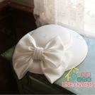 造型帽 法式復古小禮帽女夏晚宴時尚優雅婚紗英倫名媛旗袍禮服大帽檐白色-限時折扣