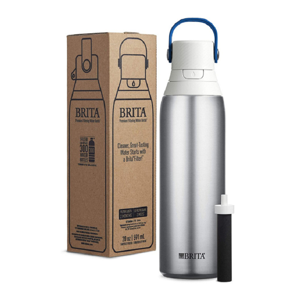 [8美國直購] Brita 不鏽鋼隨身壺 20 Ounce Premium Filtering Water Bottle with Filter BPA Free - Stainless Steel