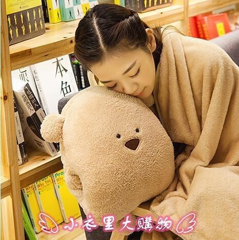 暖手抱枕 被子兩用靠墊被辦公室午睡插手毛絨女生毯子手捂冬季可愛 - 小衣里大購物