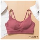 Catworld 舞動甜心。無鋼圈雙肩美背運動內衣(玫瑰紅)【18808184】‧S-XL