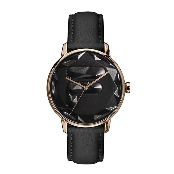 【FILA 斐樂】幾何切面LOGO設計腕錶-極致黑/38-184-004/台灣總代理公司貨享兩年保固