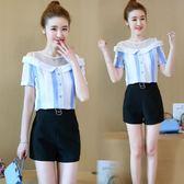 新款韓版氣質露肩短袖雪紡衫高腰短褲時尚兩件套LJ7020『miss洛羽』