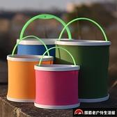 釣魚桶打水桶帶繩折疊多功能加厚魚護桶便攜小號活魚桶手提式漁具【探索者戶外生活館】