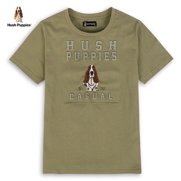 Hush Puppies T恤 男裝鋼印英文字刺繡狗棉質T恤