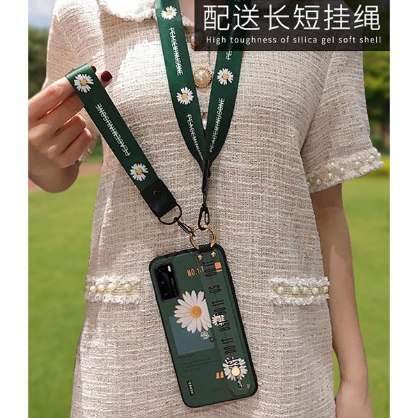 三星 S20 S20+ S20 Ultra S8 S9 S10 S10+ S9+手機殼 保護殼 清新花朵 腕帶殼 浮雕背板 掛繩 掛脖 防丟殼