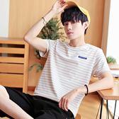 2019夏季新款半袖男裝體恤韓版潮流條紋男士短袖T恤圓領修身夏裝