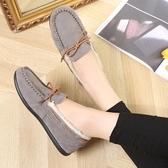 豆豆鞋女加絨冬季平底一腳蹬毛毛鞋