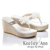 ★零碼出清★ Keeley Ann 優雅渡假~幸福花瓣厚底夾腳涼鞋(淺金色)