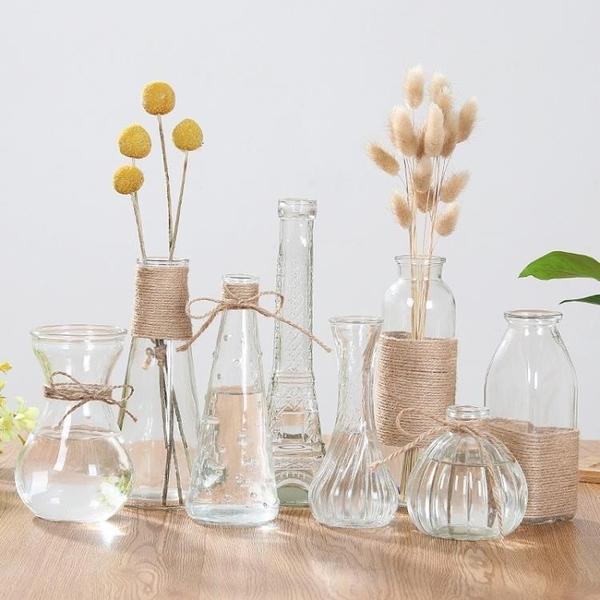 2個裝 玻璃花瓶水培植物容器水養花幹花插花擺件