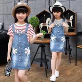 女童牛仔背帶裙套裝童裝涼感夏季兒童吊帶裙 LQ5632『miss洛羽』