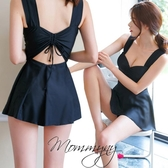 六月專屬價 韓版黑色顯瘦裙式大尺碼溫泉連身比基尼泳裝泳衣
