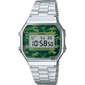 CASIO 卡西歐 Digital 迷彩電子錶-綠x銀 A-168WEC-3DF / A-168WEC-3