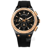 ARIES GOLD / G7016BKRG-BKRG / 競速潮流 藍寶石水晶玻璃 三眼計時 矽膠手錶 黑x玫瑰金框 45mm