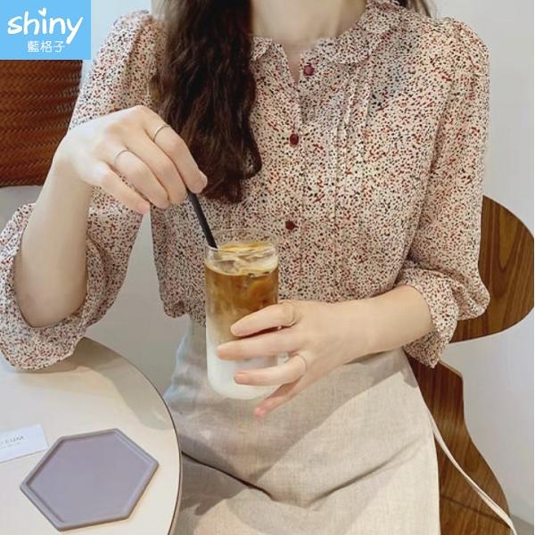【V3340】shiny藍格子-輕透甜美.碎花中長袖雪紡襯衫