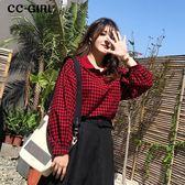 中大尺碼 格紋燈籠袖襯衫上衣~共兩色 - 適XL~4L《 67198H 》CC-GIRL