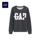 Gap男裝 logo長袖圓領衛衣512144-炭灰