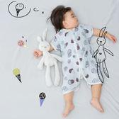 繽紛聖誕 ins嬰兒分腿竹纖維紗布睡袋春夏季薄款寶寶防踢被兒童兩用空調被