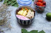 【中秋特惠】日式手繪陶瓷保鮮碗帶蓋微波爐飯盒保鮮盒圓形便當盒密封盒泡面碗