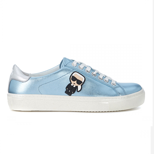 Karl Lagerfeld 卡爾 老佛爺  鞋 KUPSOLE Q版綁帶休閒鞋-金屬淺藍