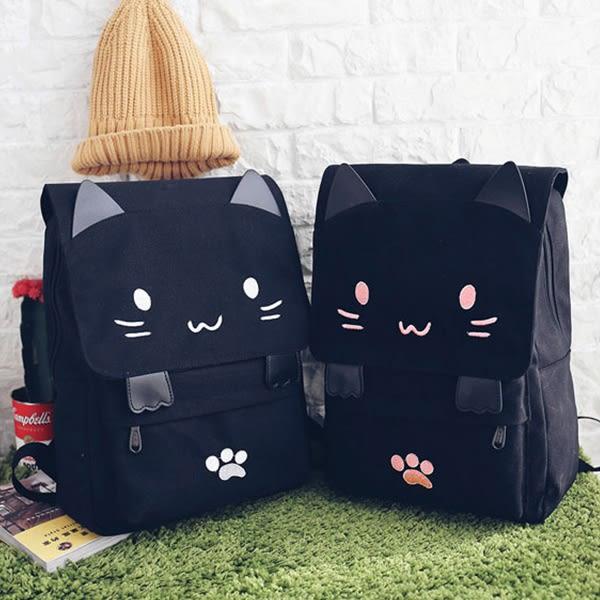 【有影片實拍】韓版休閒帆布繡花貓咪圖案旅行包雙肩包後背包(2色) X RUNWAY FASHION ICON