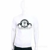 TRUSSARDI-JEANS 白色圖印LOGO棉質短袖T恤 1720295-20