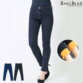 刷毛牛仔褲--提臀顯瘦禦寒保暖前後雙口袋窄管撞色內刷毛牛仔長褲(黑.藍S-5L)-N89眼圈熊中大尺碼
