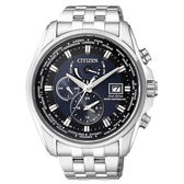 CITIZEN星辰 金城武配戴款 GENT'S 三眼計時光動能全球電波腕錶-銀藍44mm AT9031-52L