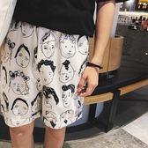 【新年鉅惠】學寬鬆五分褲夏季韓版印花休閒褲海灘褲