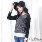 Victoria 拉鍊異材質拼接長袖T-女-深灰