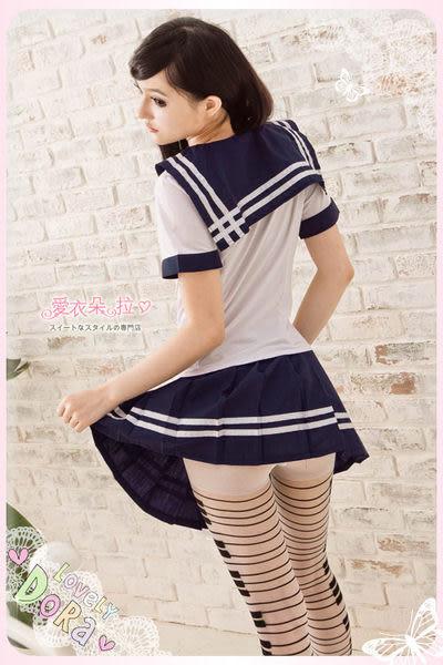 學生裝 水手服 學生制服角色扮演 深藍白色海軍領上衣百摺裙- 愛衣朵拉