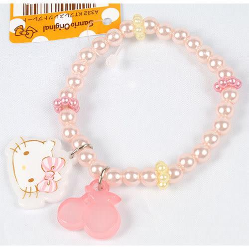 《Sanrio》HELLO KITTY女童用珠光串珠手環(櫻桃)_636304