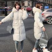 鋪棉外套 女中長款大毛領韓版加厚面包服羽絨外套