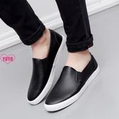 YOYO 懶人鞋 黑色 防水 樂福鞋 軟皮鞋 一腳蹬 帆布男鞋